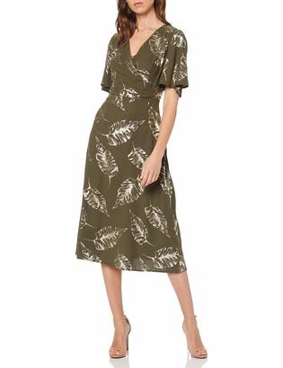Dorothy Perkins Women's Khaki FOIL Ruffle Front A-Line Dress Green (Khaki 75) 14 (Manufacturer Size:14)