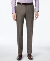 Kenneth Cole Reaction Men's Slim-Fit Brown Glen Plaid Dress Pants