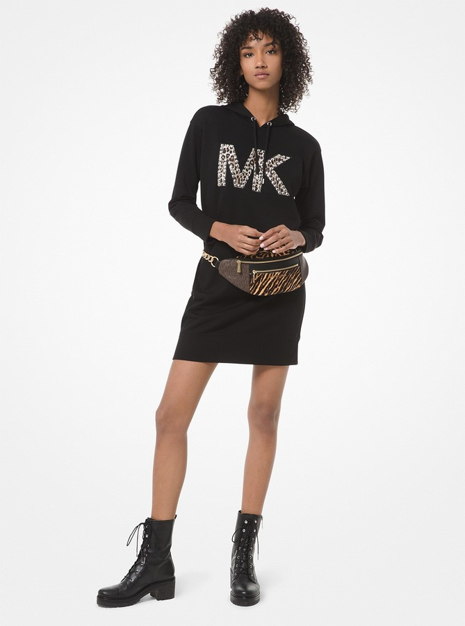MICHAEL Michael Kors Studded Leopard Logo Cotton Sweater Dress