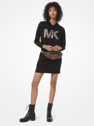 MICHAEL Michael Kors Studded Leopard Logo Cotton Sweater Dress
