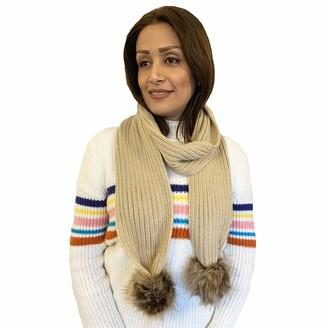 DINZIO Ladies Long Warm Soft Knitted Scarf Shawl with Faux Fur Pom Pom Trim Taupe