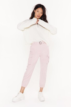 Nasty Gal Womens Don't Pocket Belted Cargo trousers - Pink - XL, Pink