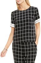 Vince Camuto Contrast Cuff Windowpane Blouse