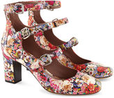 Tabitha Simmons Floral Tapestry Leather Buckled Ginger Heels