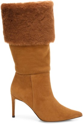 Alexandre Birman Knee-High Shearling-Trimmed Suede Boots