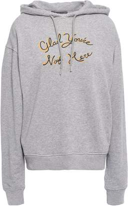 ALEXACHUNG Printed French Cotton-terry Hooded Sweatshirt