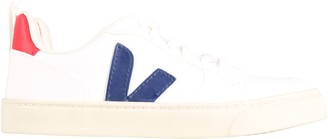 Veja White Sneakers With Blue Logo For Kids