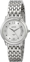 August Steiner Women's AS8133SS Silver Swiss Quartz Watch with Silver Sunray Dial and Silver Bracelet