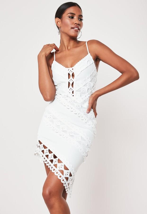 Missguided White Crochet Lace Cami Mini Dress