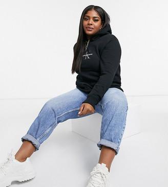 Calvin Klein Jeans glitter logo hoodie in black