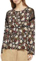 BCBGeneration Lace-Inset Floral Print Top