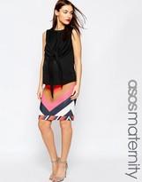 Asos Chevron Scuba Pencil Skirt With Contrast Hem