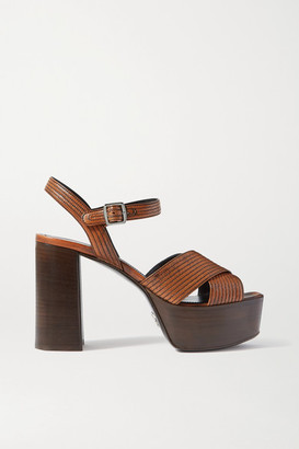 Prada 105 Leather Platform Sandals - Brown