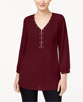 JM Collection Embellished Zip-Detail Tunic, Created for Macy's