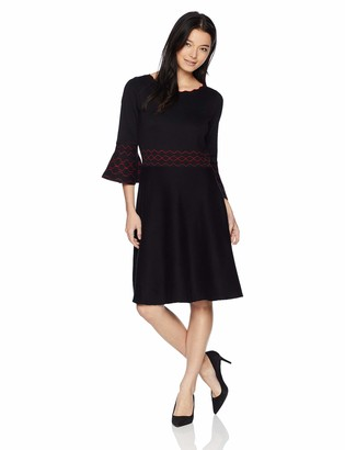 Gabby Skye Women's Petite 3/4 Bell Sleeve Round Neck Sweater Fit&Flare Dress