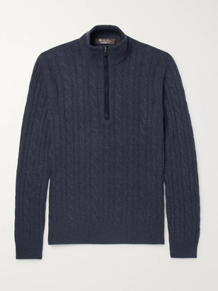 Loro Piana Suede-Trimmed Cable-Knit Baby Cashmere Zip-Up Sweater