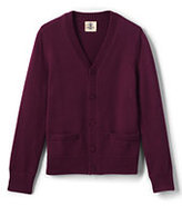 Lands' End Little Boys Performance Button Front Cardigan Sweater-Pewter Heather
