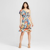 Notations Women's Printed One Shoulder Flounce Dress with Pom Poms