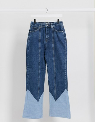 NA-KD cut and sew straight leg jeans in mid blue