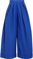 DELPOZO Pleated Cotton-poplin Wide-leg Pants - Royal blue