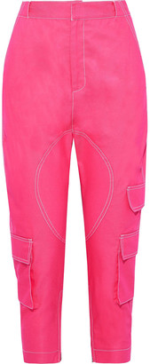 Prabal Gurung Cropped Neon Twill Tapered Pants