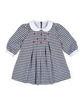 Florence Eiseman Long-Sleeve Collared Gingham Dress, Navy/White, Size 6-18 Months