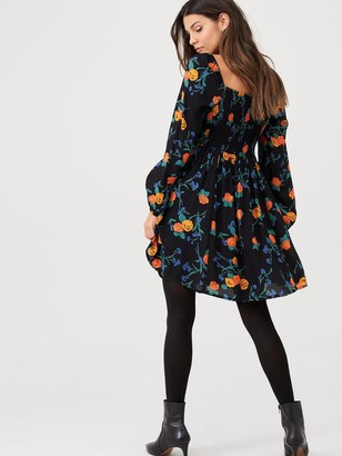 Very FloralShirred Back Tea Dress - Black