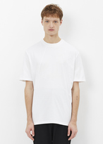 Lanvin white asymmetrical cuts crew neck