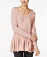 Free People Ribs And Ruffles V-Neck Sweater