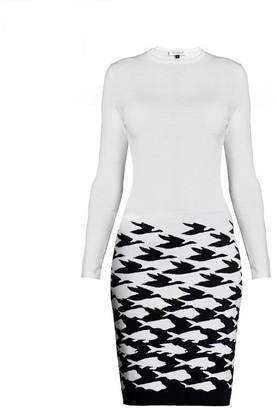 Rumour London Sea & Sky Ivory Knitted Jacquard Dress