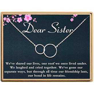 Sannyra Sister Necklace 2 Interlocking Infinity Double Circles Dear Sister Birthday Gift for Girls