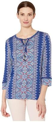 Tribal 3/4 Sleeve Henley Top (Steel Blue) Women's Clothing