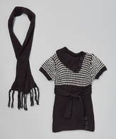 Dollhouse Black Heart Sweater Dress & Scarf - Girls