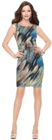 Dress, Sleeveless Feather Print Sheath