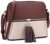 Dasein Brown & Cream Double-Tassel Crossbody Bag