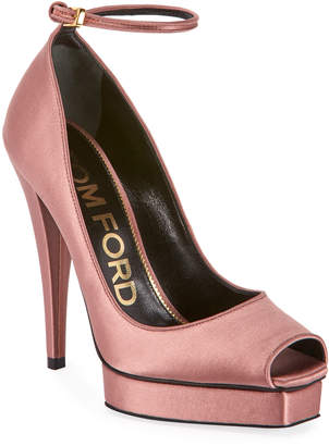 Tom Ford Peep-Toe Platform Ankle-Wrap Pumps, Pink