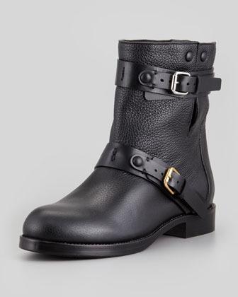 Chloé Double-Buckle Moto Boot, Black