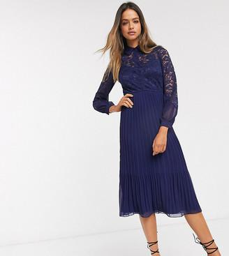 Little Mistress Tall lace shirt skater dress in navy