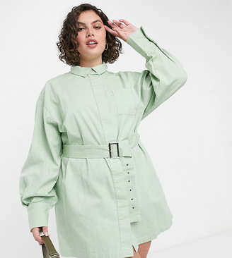 Collusion Plus belted shirt mini dress in green