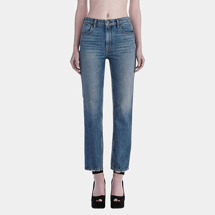 Alexander Wang Cult Cropped Straight Jean in Light Indigo Aged