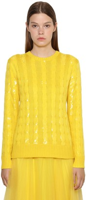 Ralph Lauren Collection Sequined Cable Silk Knit Sweater