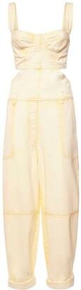 Alberta Ferretti Sleeveless Cotton Denim Bustier Jumpsuit