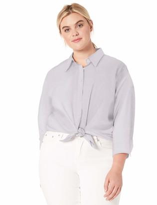 Chaps Women's Plus Size 3/4 Sleeve Non Iron Cotton Sateen Shirt