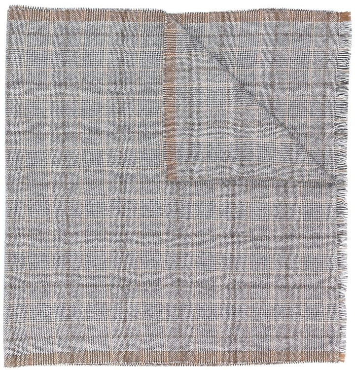 Eleventy check knit scarf