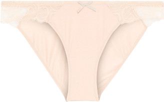 Cosabella Lace-trimmed Stretch-jersey Low-rise Briefs