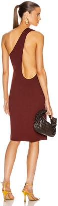 Bottega Veneta One Shoulder Dress in Rust | FWRD