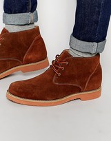 Frank Wright Desert Boots In Tan Suede