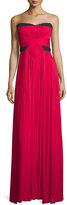 J. Mendel Strapless Two-Tone Plisse Gown, Fuchsia