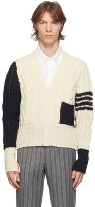 Thom Browne Off-White and Navy Wool Funmix 4-Bar Cardigan