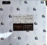 Kensie Home 100% Cotton TWIN Sheet Set Indian Elephants White